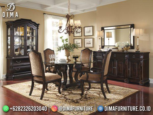 Meja Makan Mewah Jati Bundar Natural Classic Luxury Simple Design ST-1491