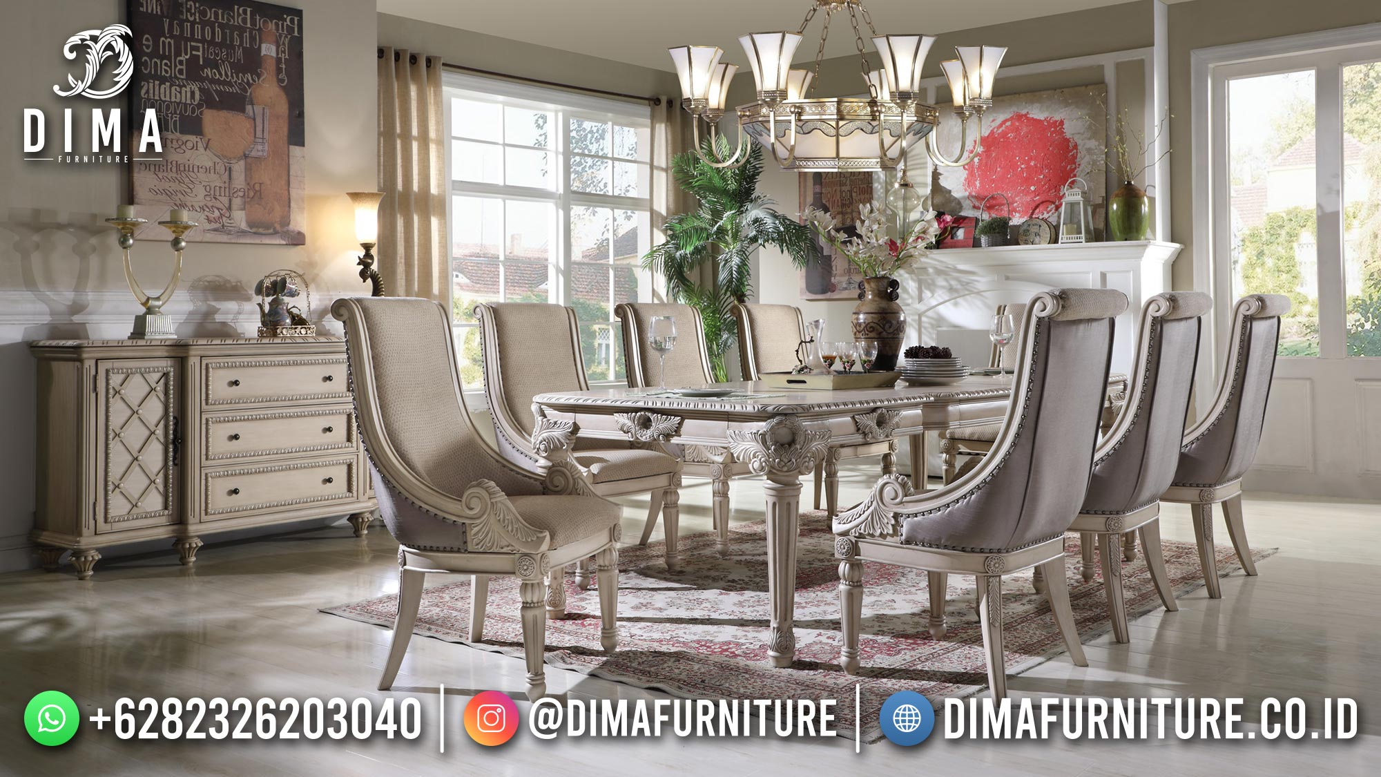 Meja Makan Mewah Jepara Excellent Color Luxurious Carving Design ST-1466