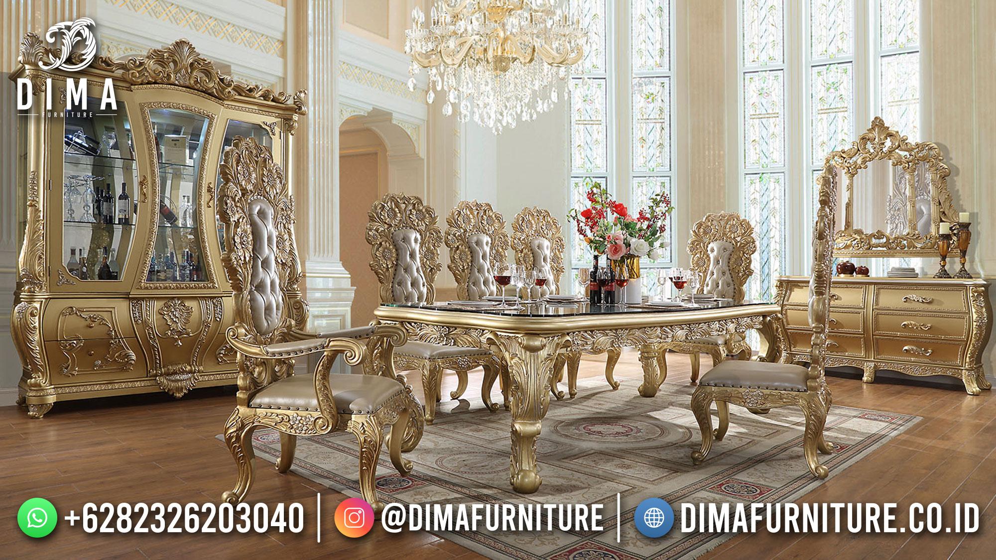 Meja Makan Mewah Jepara Golden Duco Luxury Color New Set 2021 St-1471
