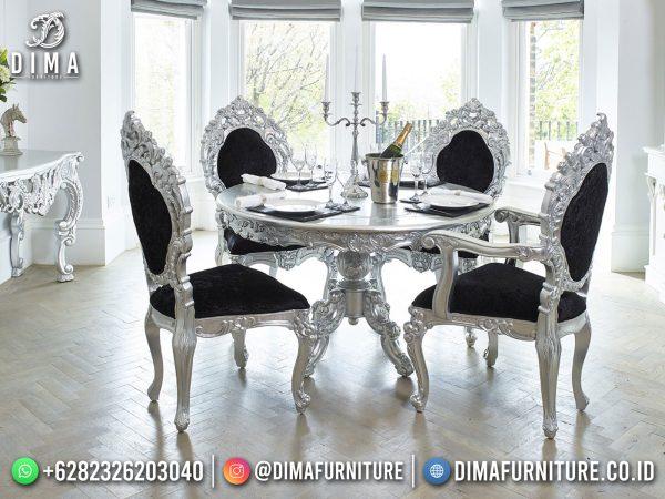 Meja Makan Mewah Jepara Silver Luxury Elegant Color ST-1484