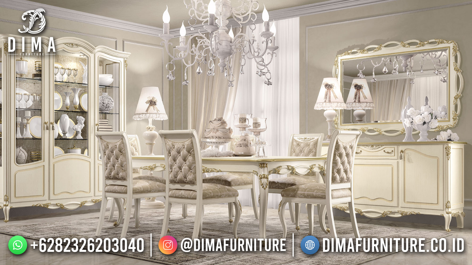 Meja Makan Minimalis Modern Luxury Champagne Color Excellent Duco ST-1480