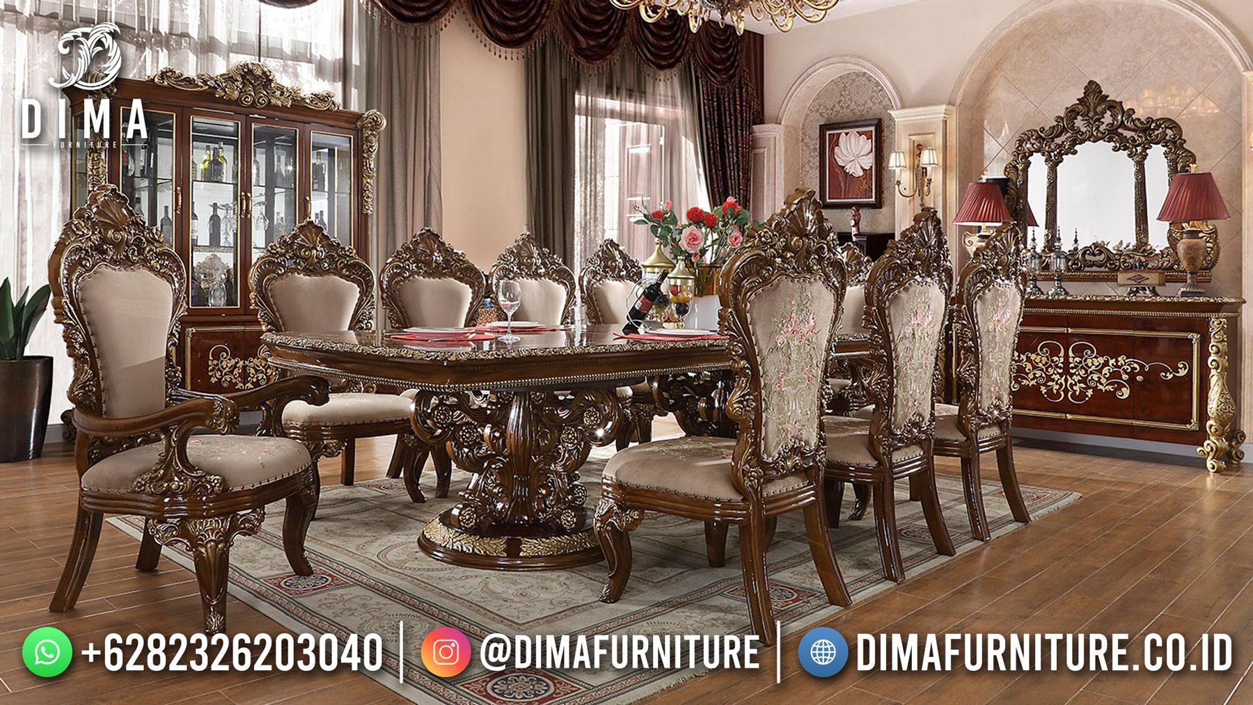 Model Meja Makan Mewah Jati Kursi 8 Luxury Carving Natural Combine Color ST-1474