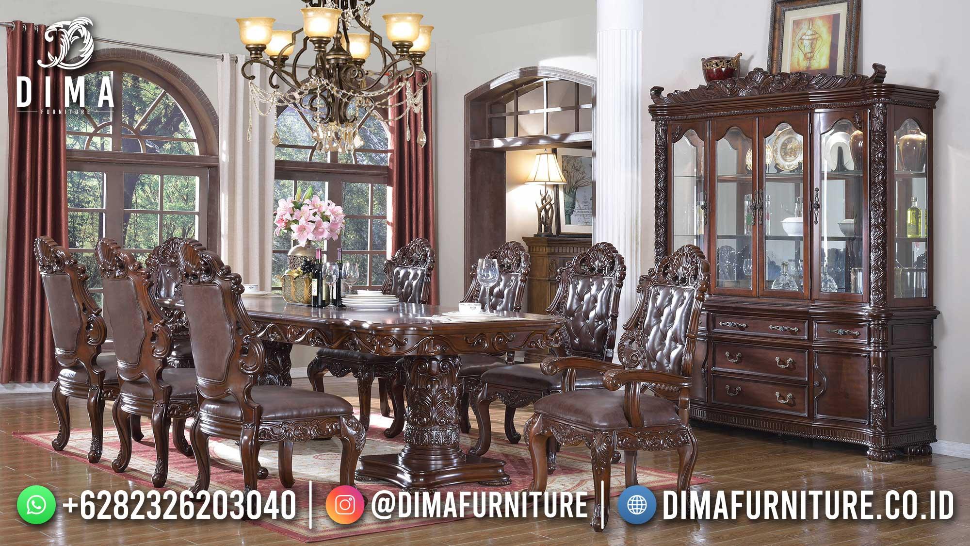 Model Meja Makan Mewah Jati Natural Classic Luxurious Carving Jepara ST-1468