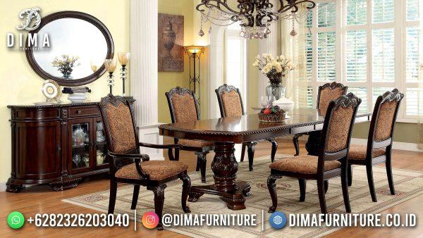 New Meja Makan Jati Klasik Natural Color Luxury Fabric Motif Bunga ST-1476