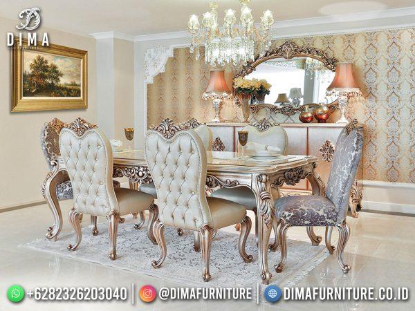New Model Meja Makan Mewah Jepara Elegant Carving Set Design ST-1489