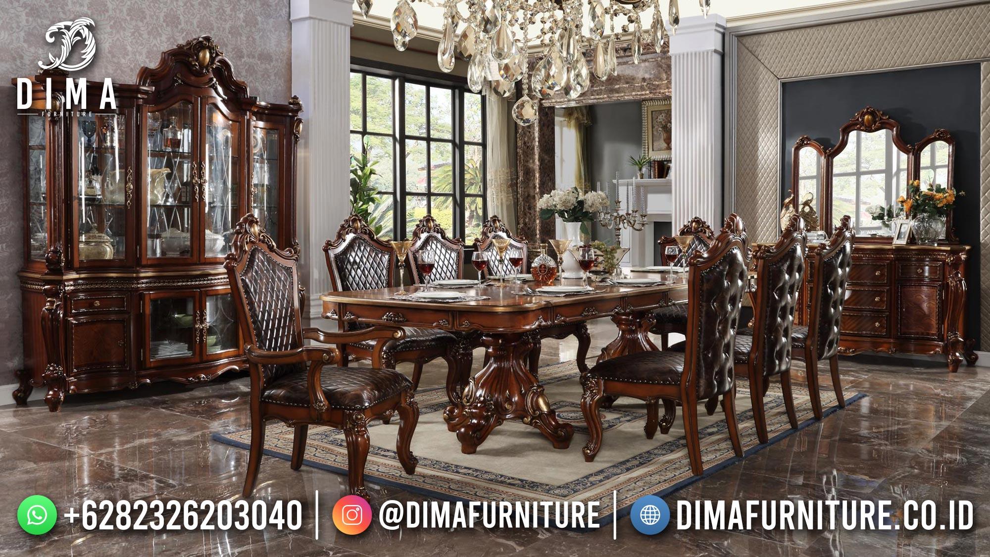 Set Meja Makan Mewah Klasik Jati Natural Kayu Perhutani High Quality ST-1473