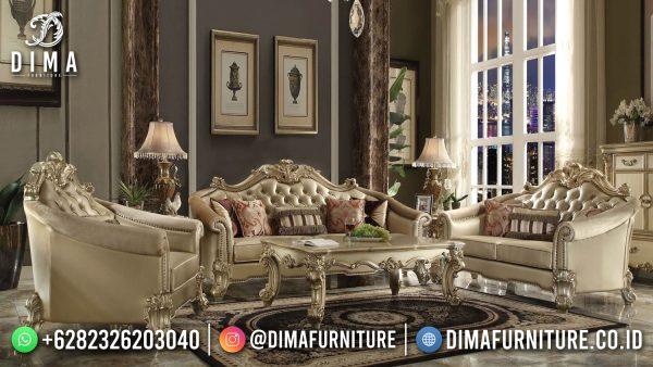 Best Sofa Tamu Mewah Terbaru Brown Classic Luxury Fabric Color ST-1509