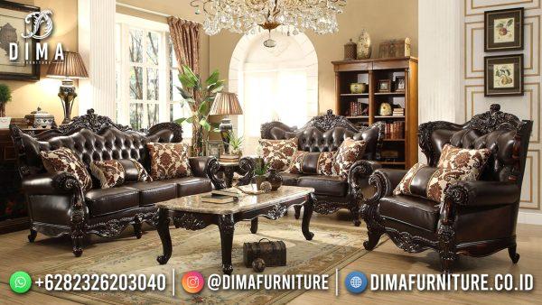 Elegant Black Leather Sofa Tamu Mewah Klasik Jepara ST-1558