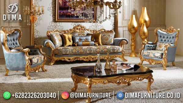 Kursi Sofa Tamu Mewah Terbaru Luxury Golden Carving In Blue ST-1560