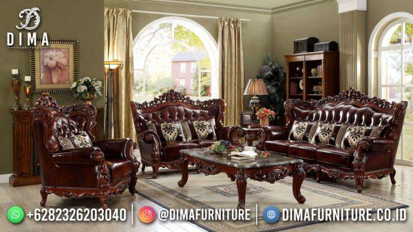 Shinning Brown Sofa Tamu Klasik Jepara Excelent Carving ST-1559