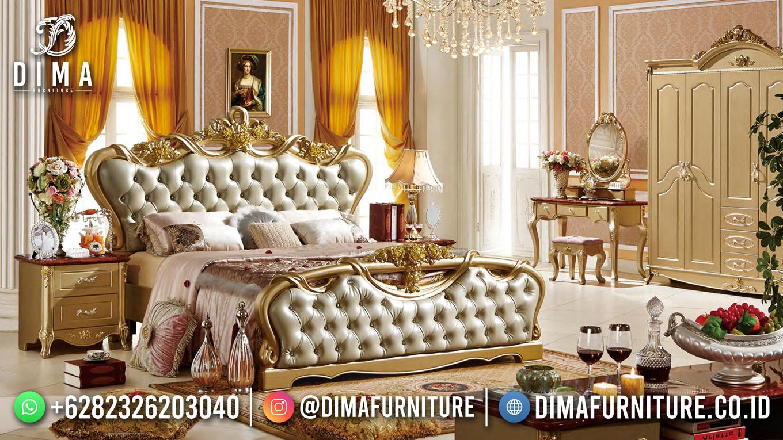 Tempat Tidur Jepara Terbaru Luxury Design Classic Great Golden Leaf Color ST-1540