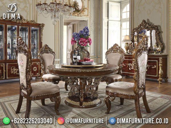 Desain Meja Makan Mewah Bundar Classy Luxury Grade Mebel Jepara ST-1622