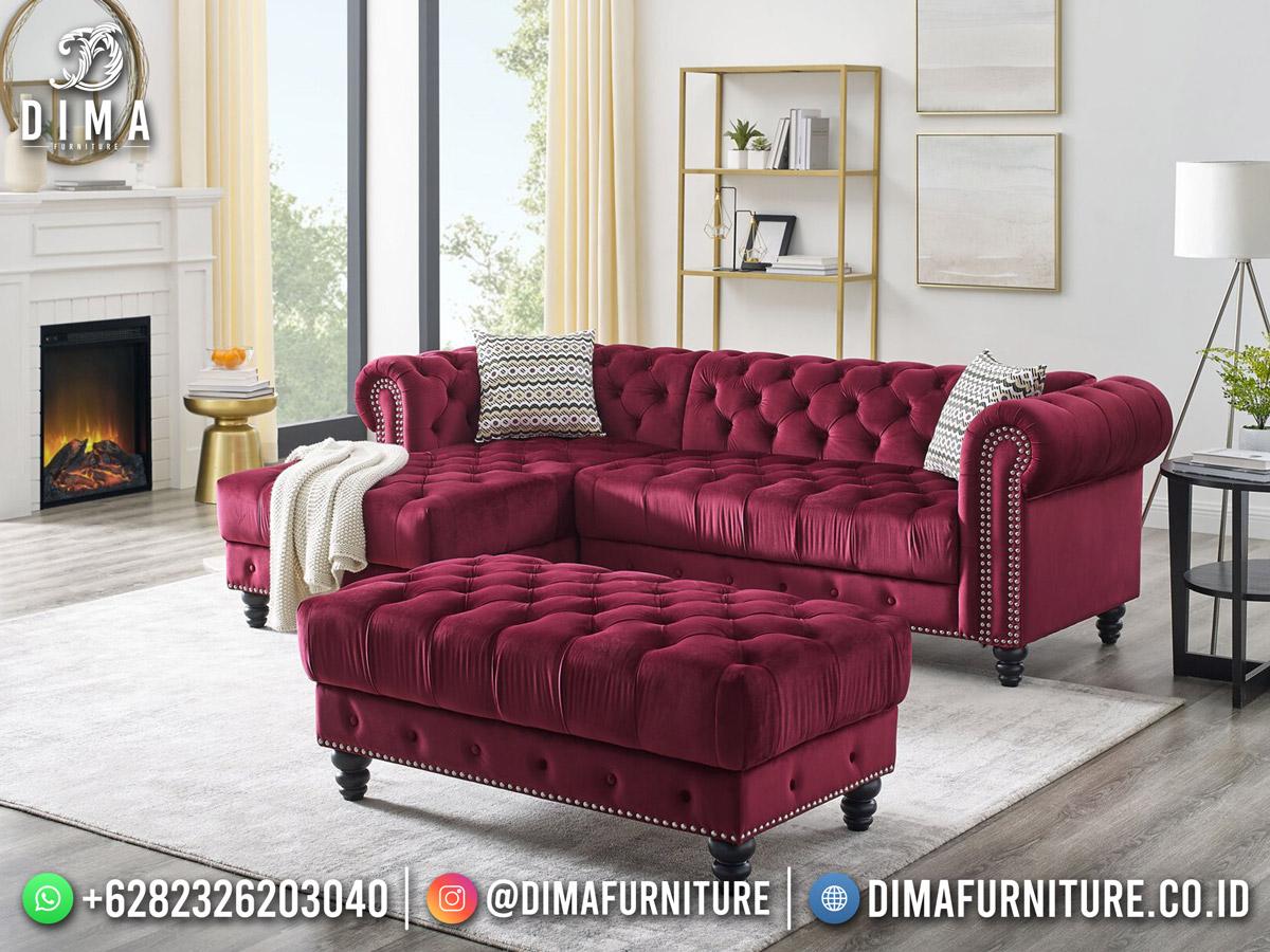Sofa Tamu Minimalis Chesterfield Luxury Maroon Soft Fabrict Best Item ST-1610